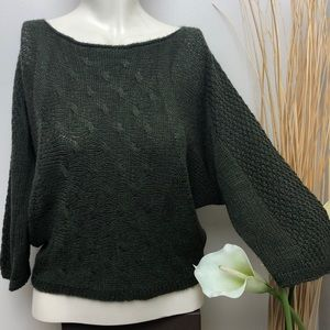 CARINA RICCI Green Open Knit Textured Sweater Sz M